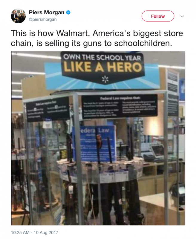 Walmart apologizes for 'truly horrible' back-to-school gun display
