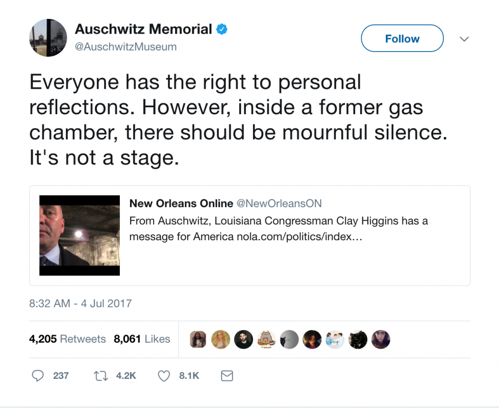USA congressman apologises for filming inside Auschwitz gas chamber