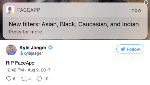 FaceApp Pulls 'Ethnicity Filters' Amid Accusations of Racism   MRCTV