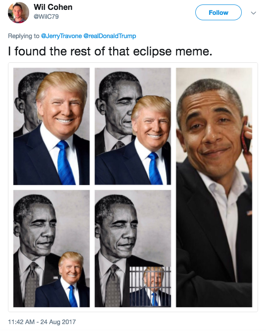 Screen Shot 2017 08 24 at 12.40.34 PM the best eclipse ever!' trump retweets meme of himself 'eclipsing