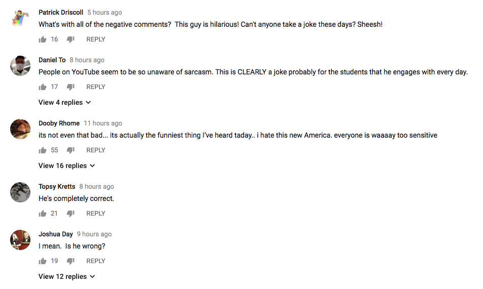 YouTube comments FOR Hensley