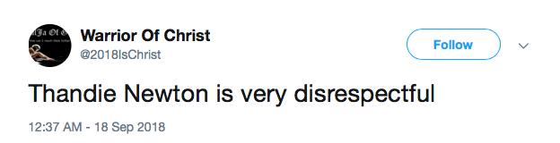 Tweet against Thandie
