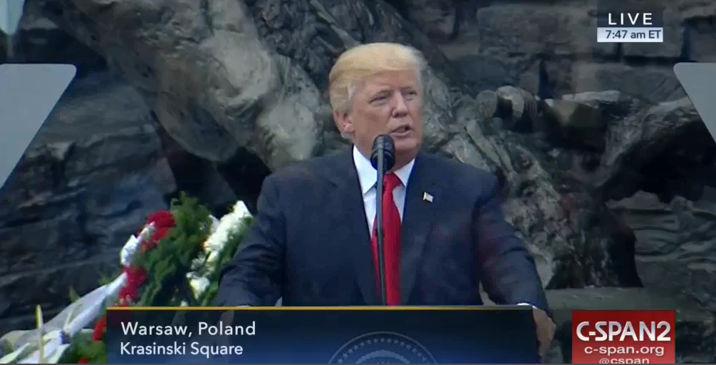 US President Donald Trump meets with Polish president in Warsaw