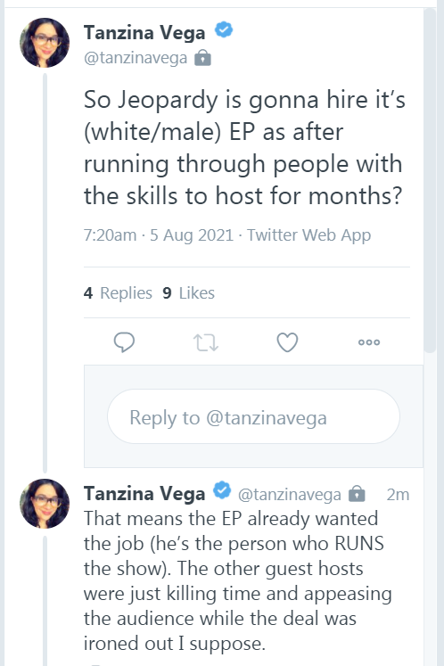 Tanzina Vega Twitter comments