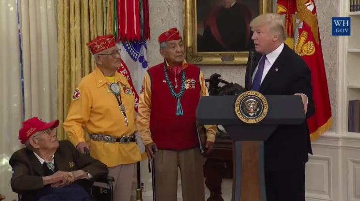 President at Native American code talkers event