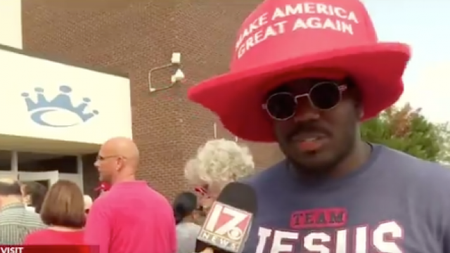 "Image result for VIDEO: Black Trump Supporter Told Not to Wear MAGA Hat ""Bought the Biggest MAGA Hat"""