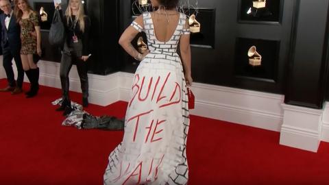 Singers Joy Villa, Ricky Rebel Strut Down Grammy's Red Carpet in Pro-Trump Gear
