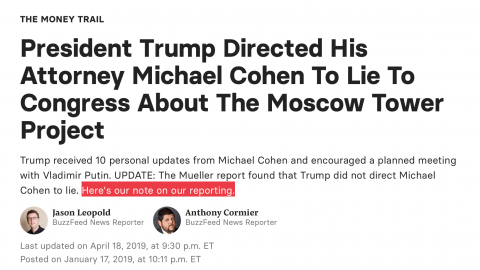 Post-Mueller, Buzzfeed FINALLY Admits Its Debunked Cohen Story Was Wrong