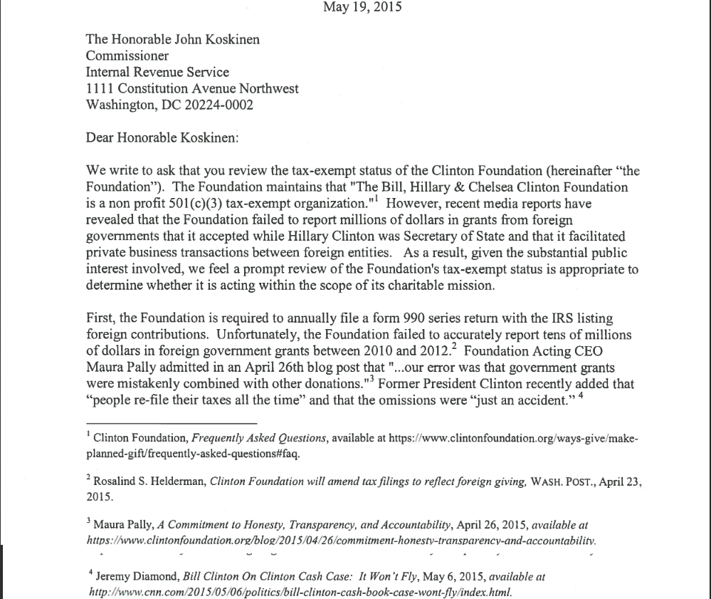 52 Congressman Call On IRS To Review Clinton Foundation's