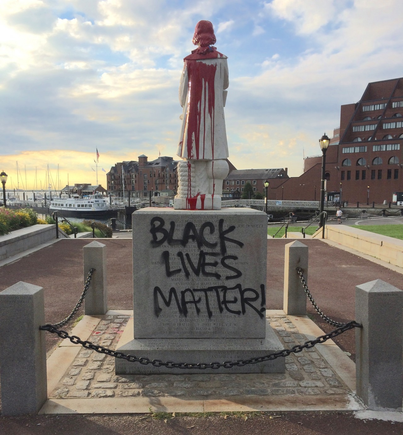 Black Lives Matter Defaces Statue Of Christopher Columbus